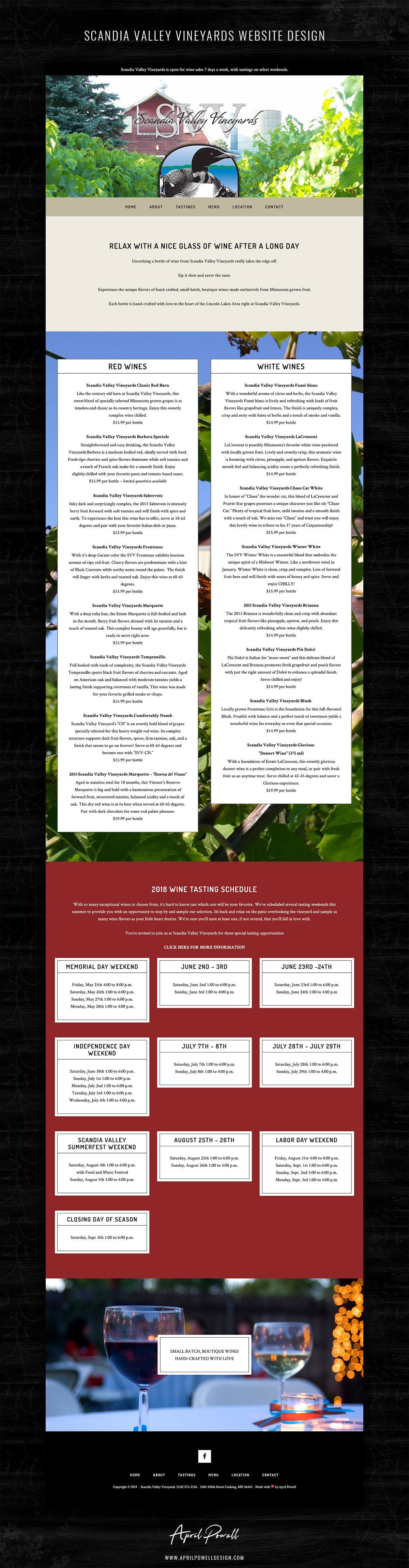 website design for winery from branding and design portfolio