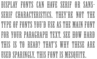 Types of fonts - Display font