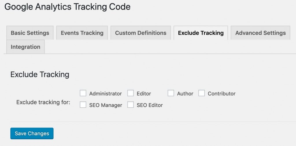 Exclude Tracking