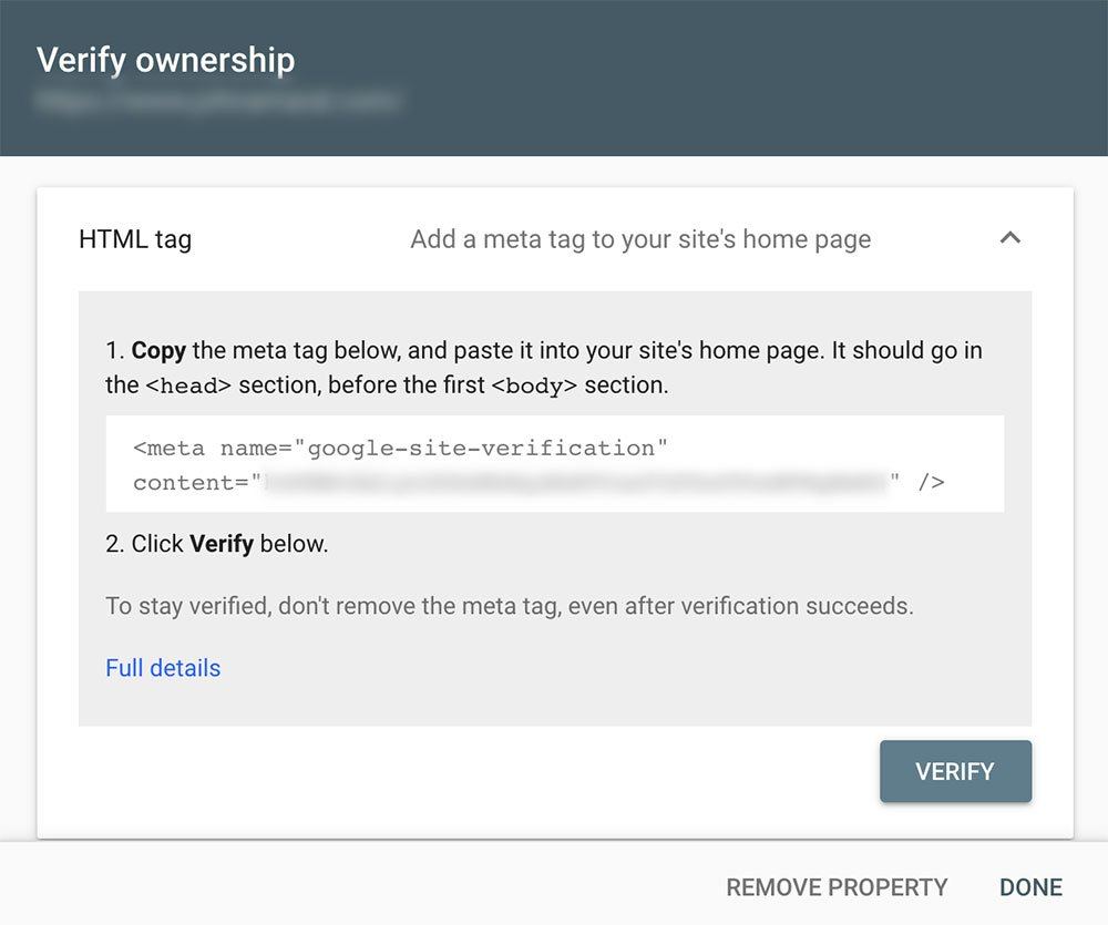 Verify Google Search Console Property